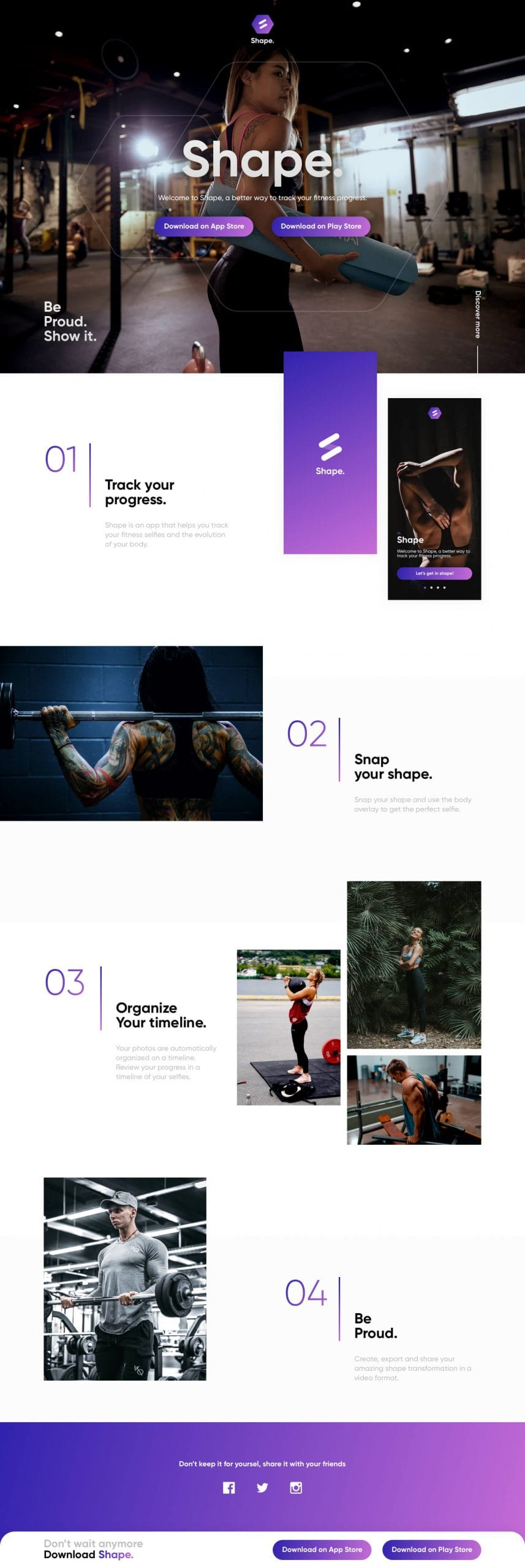 Shape APP Landing Page